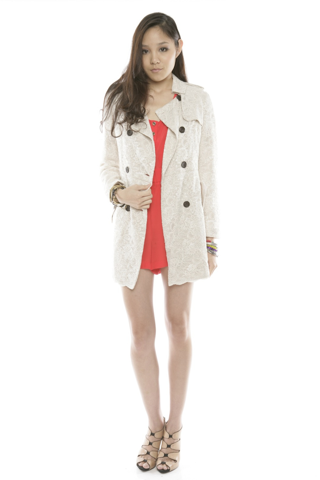 Lace Trench Coat - Front Full Image