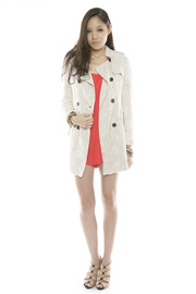 Lace Trench Coat - Front full body
