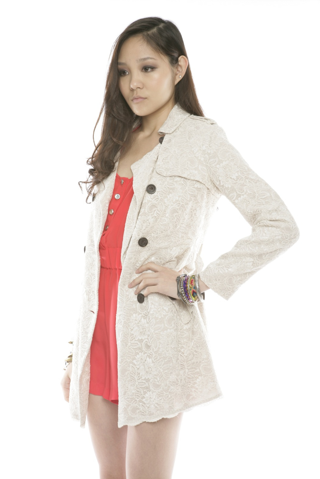 Lace Trench Coat - Side Cropped Image