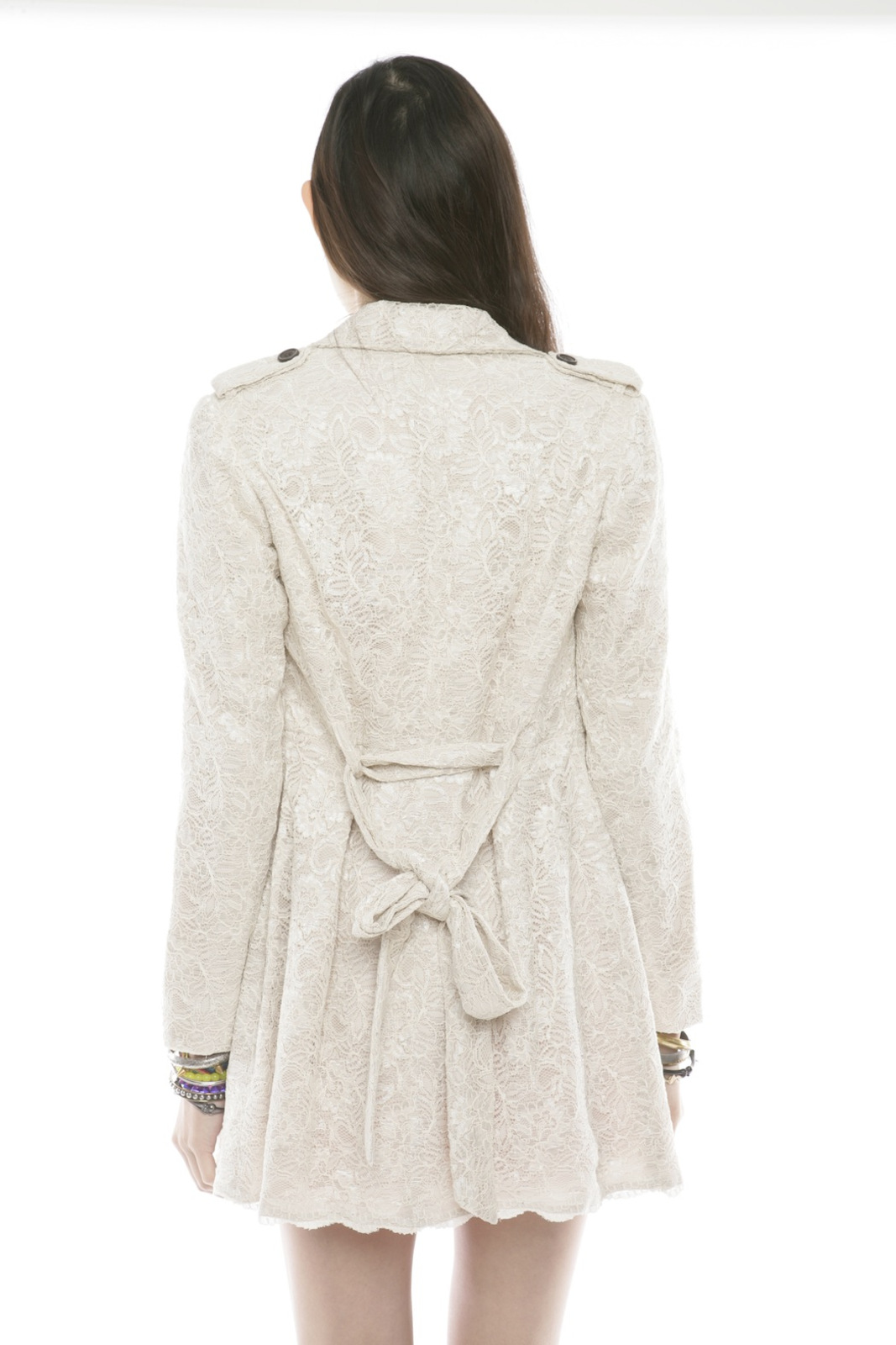 Lace Trench Coat - Back Cropped Image