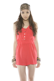 Shoptiques Product: Tie-Waist Silk Romper - Front cropped