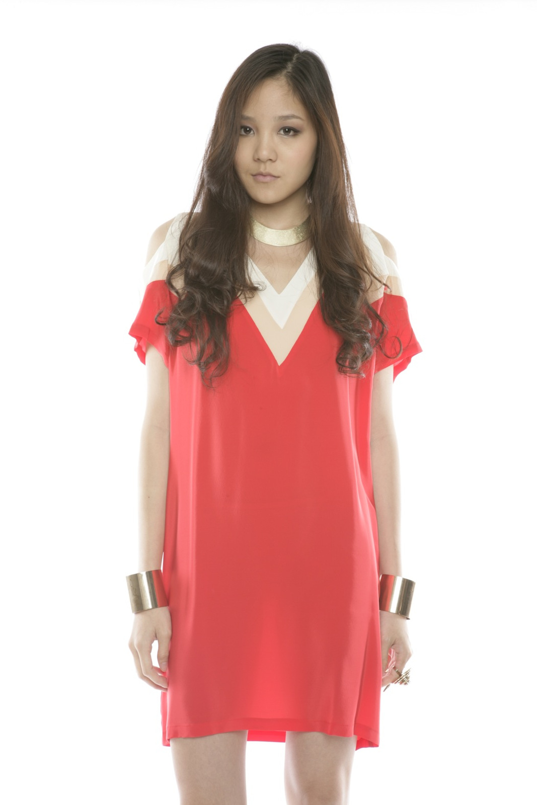 annabelle Color-Block Silk Dress - Main Image