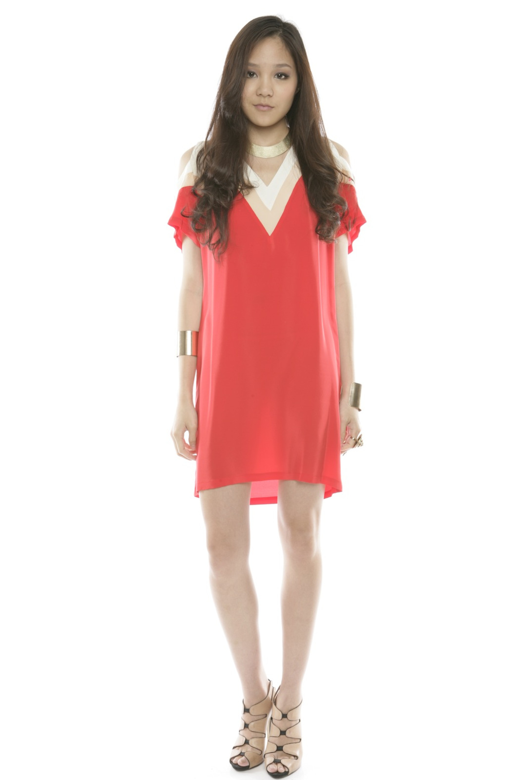 annabelle Color-Block Silk Dress - Front Full Image