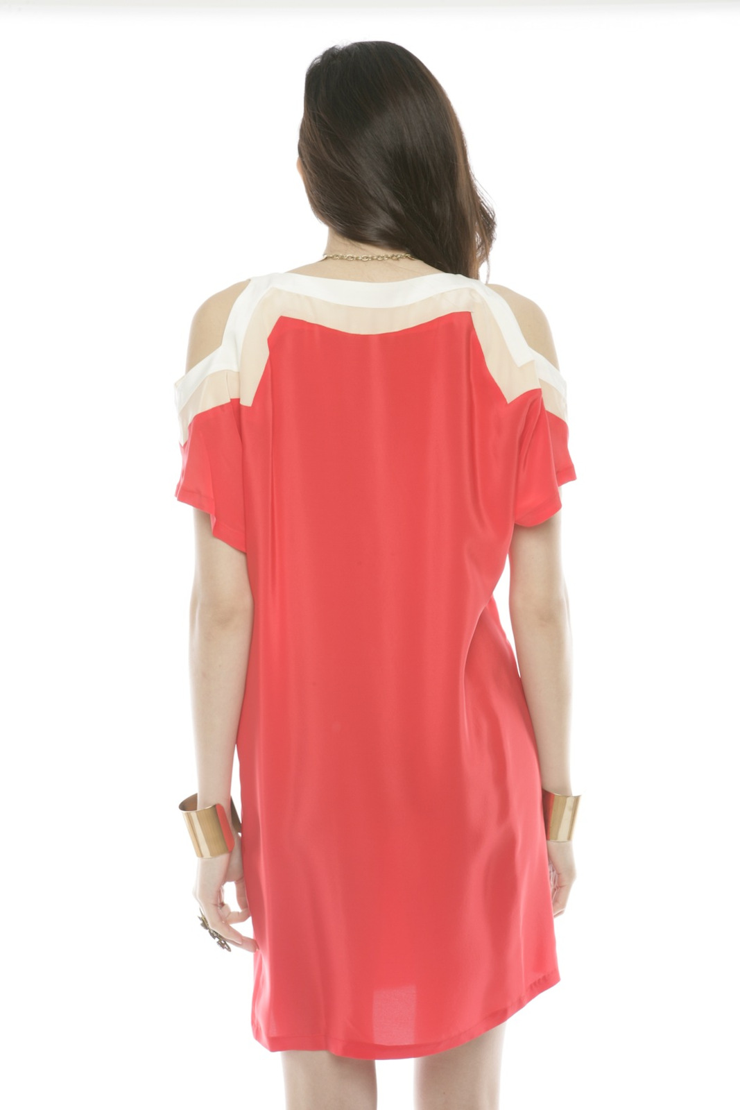 annabelle Color-Block Silk Dress - Back Cropped Image