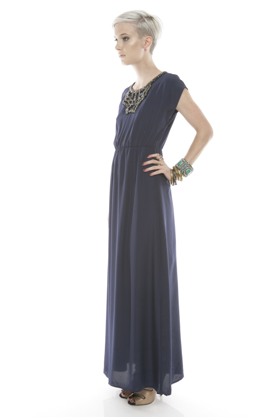 Collective Concepts Beaded Maxi Dress - Front Full Image