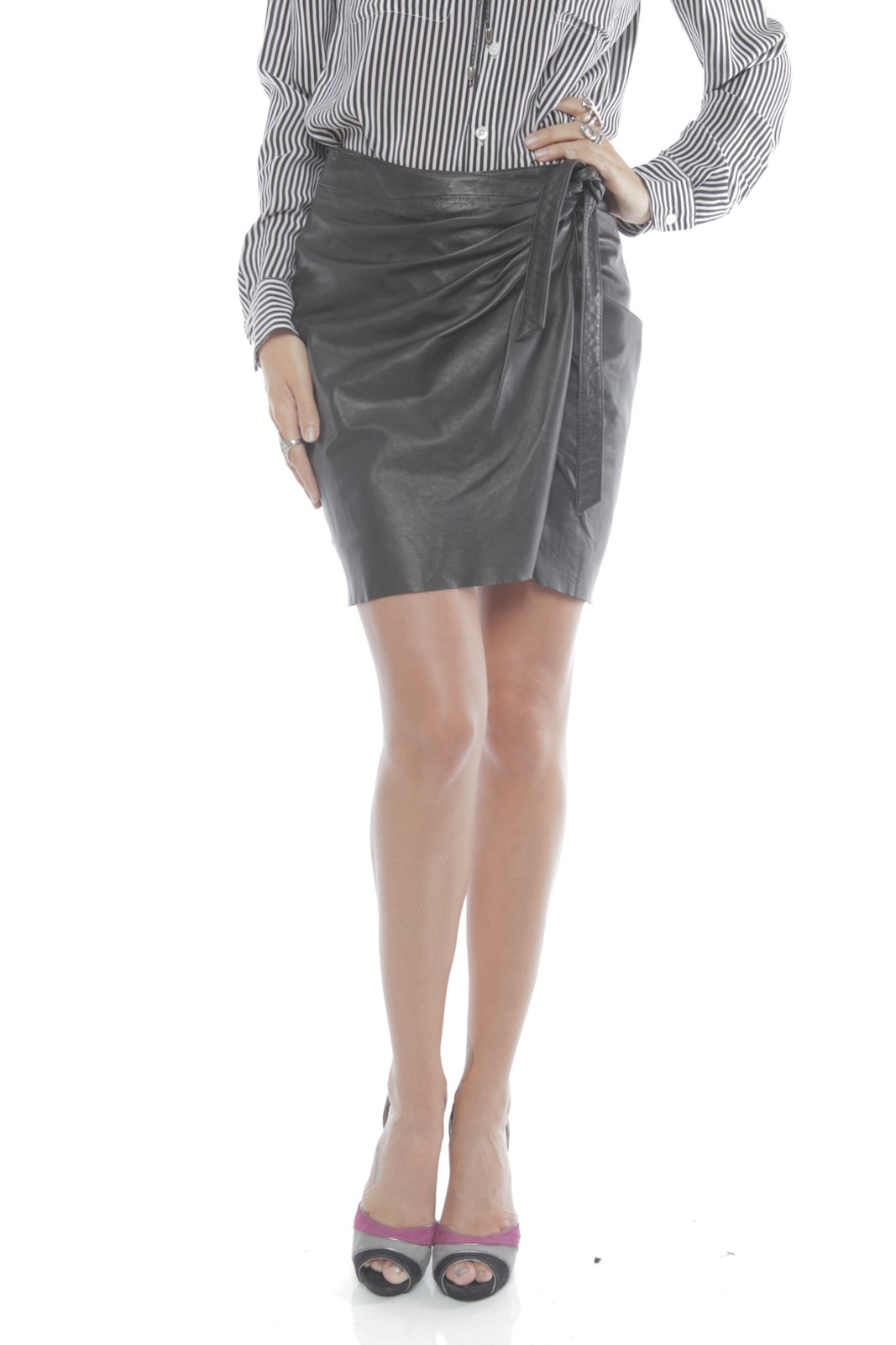 Young by YoYo Yeung Leather Wrap Skirt - Front Cropped Image