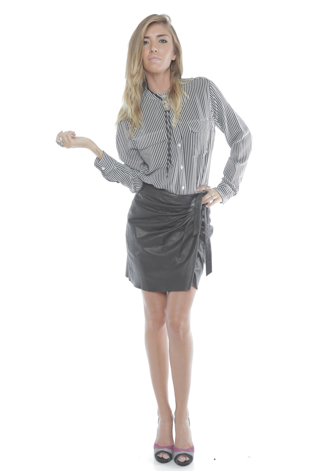 Young by YoYo Yeung Leather Wrap Skirt - Front Full Image