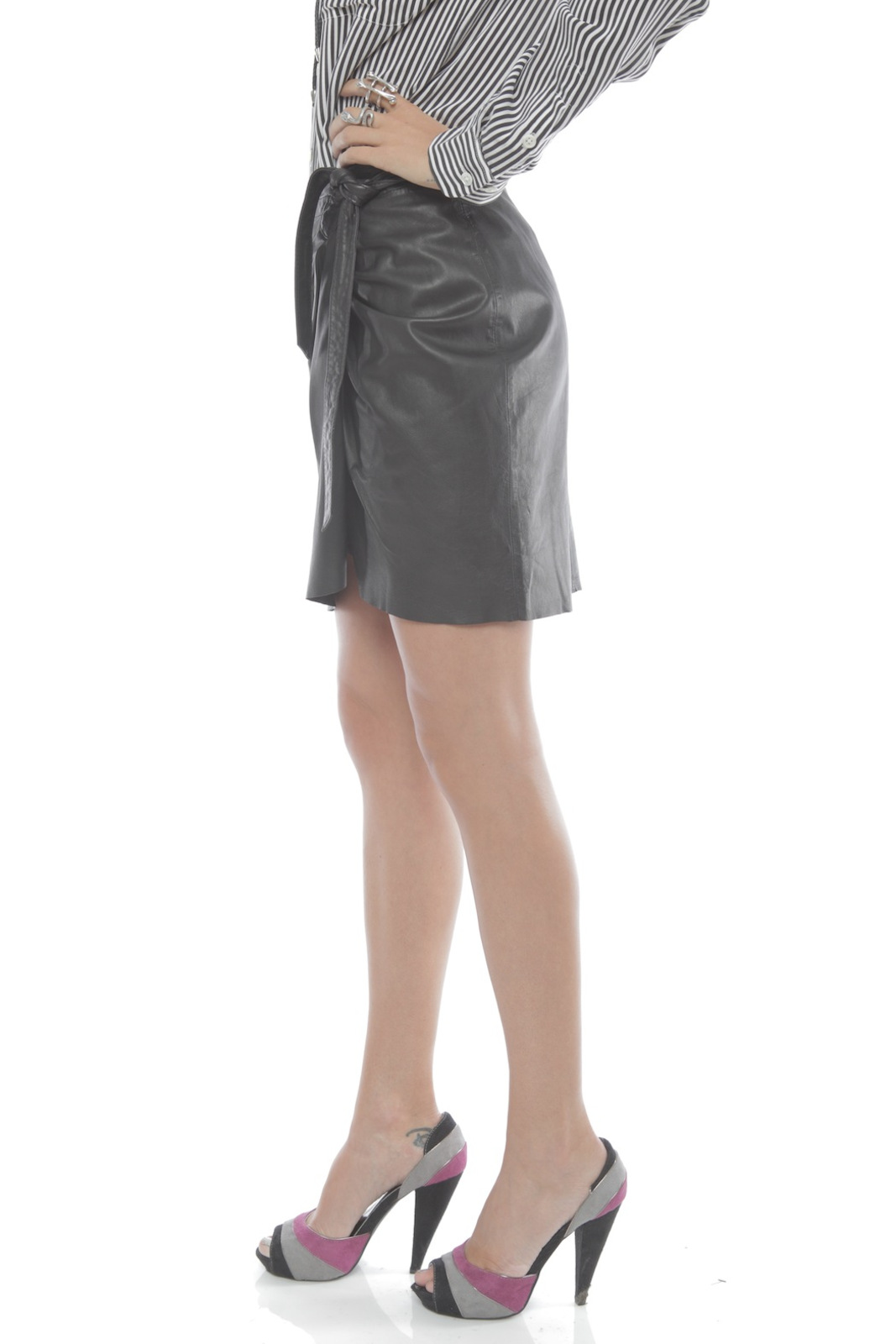 Young by YoYo Yeung Leather Wrap Skirt - Side Cropped Image