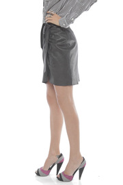 Young by YoYo Yeung Leather Wrap Skirt - Side cropped