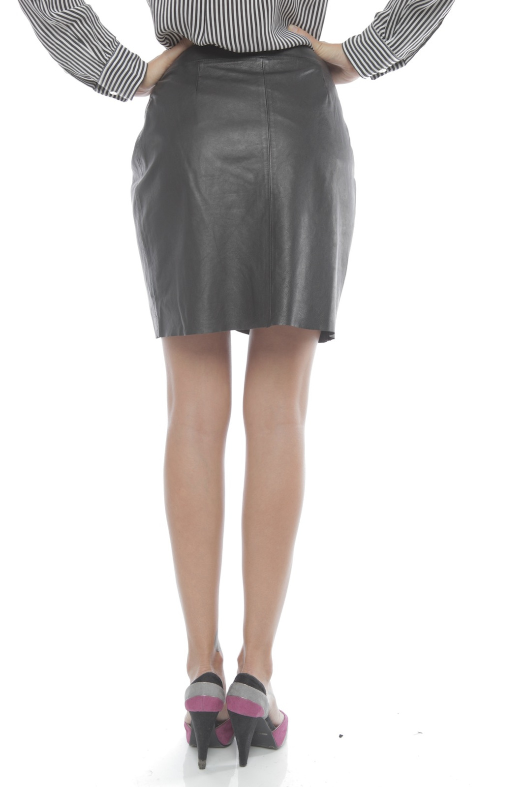 Young by YoYo Yeung Leather Wrap Skirt - Back Cropped Image