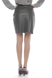 Young by YoYo Yeung Leather Wrap Skirt - Back cropped