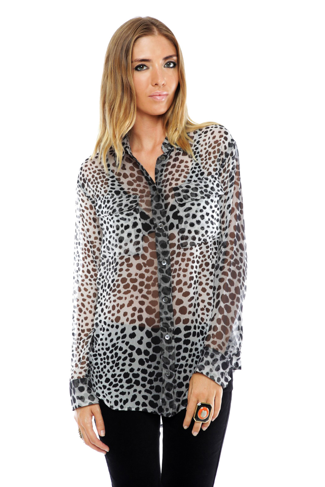 Equipment Silk Signature Blouse in Raw Cat Print - Front Cropped Image
