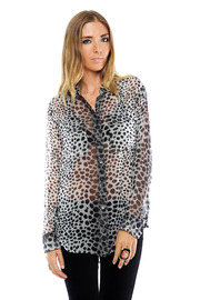 Shoptiques Product: Silk Signature Blouse in Raw Cat Print - Front cropped