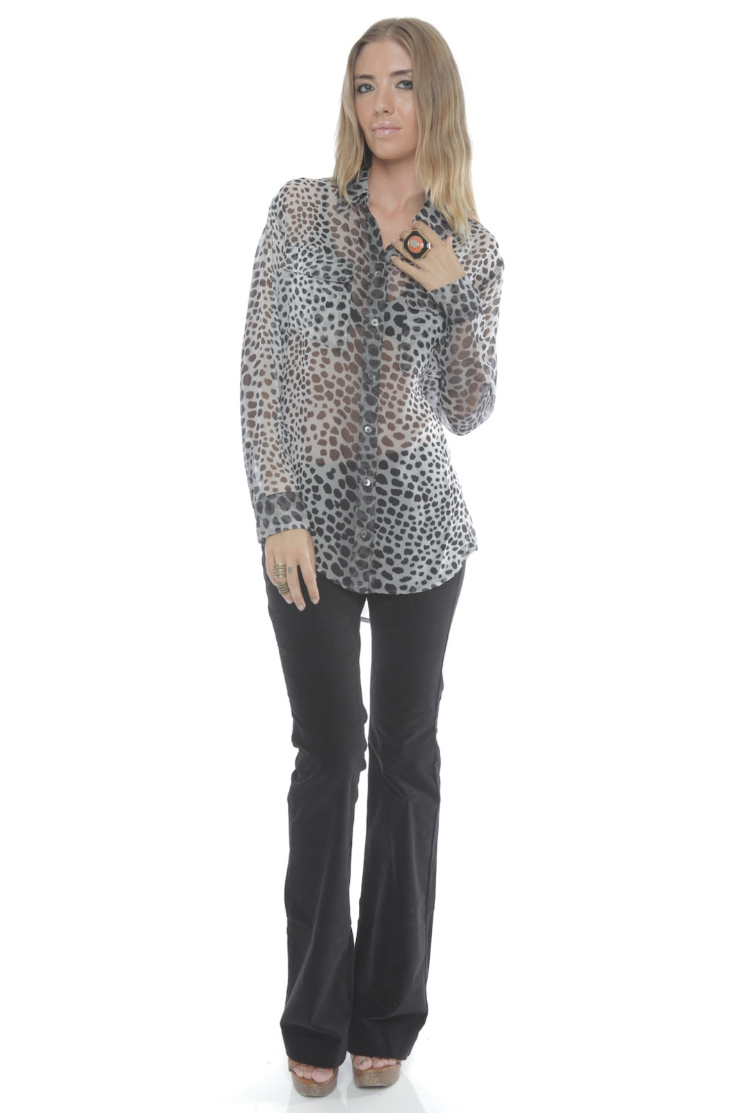 Equipment Silk Signature Blouse in Raw Cat Print - Front Full Image