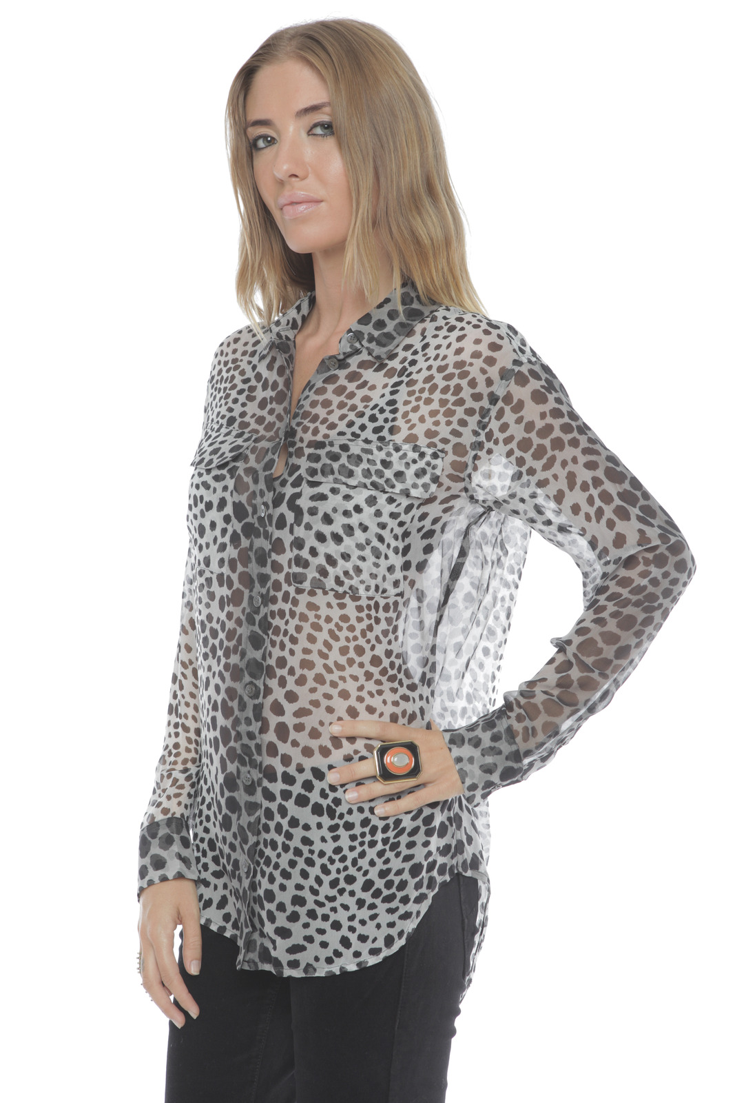 Equipment Silk Signature Blouse in Raw Cat Print - Side Cropped Image