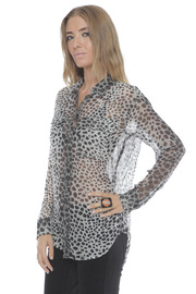 Shoptiques Product: Silk Signature Blouse in Raw Cat Print - Side cropped