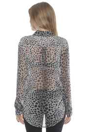 Shoptiques Product: Silk Signature Blouse in Raw Cat Print - Back cropped