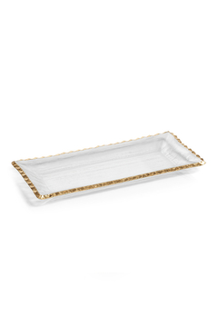 """Shoptiques Product: 14.5"""" TEXTURED RECTANGULAR TRAY W/ JAGGED GOLD RIM"""
