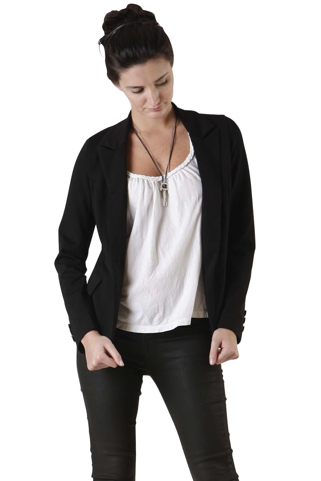 Tuttitrendy Black Suit Jacket - Front Cropped Image