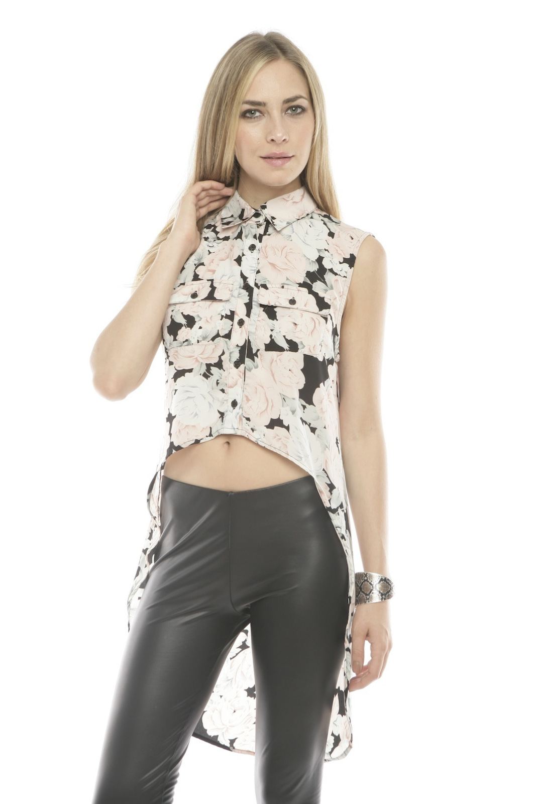MINKPINK Collared High-Low Blouse - Main Image