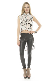MINKPINK Collared High-Low Blouse - Front full body