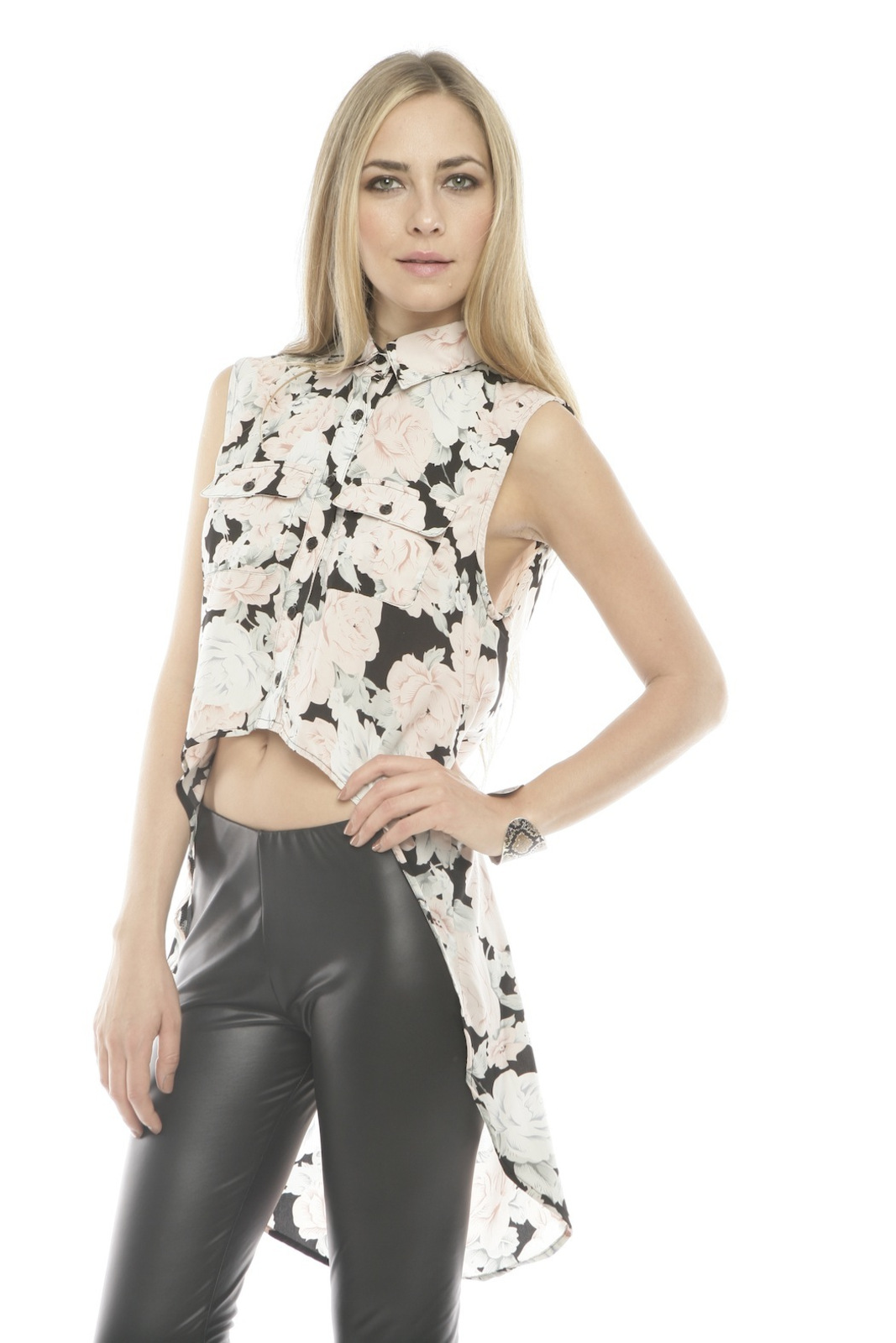 MINKPINK Collared High-Low Blouse - Side Cropped Image