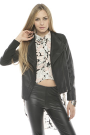 C. Luce Leather Motorcycle Jacket - Front cropped