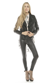 C. Luce Leather Motorcycle Jacket - Front full body
