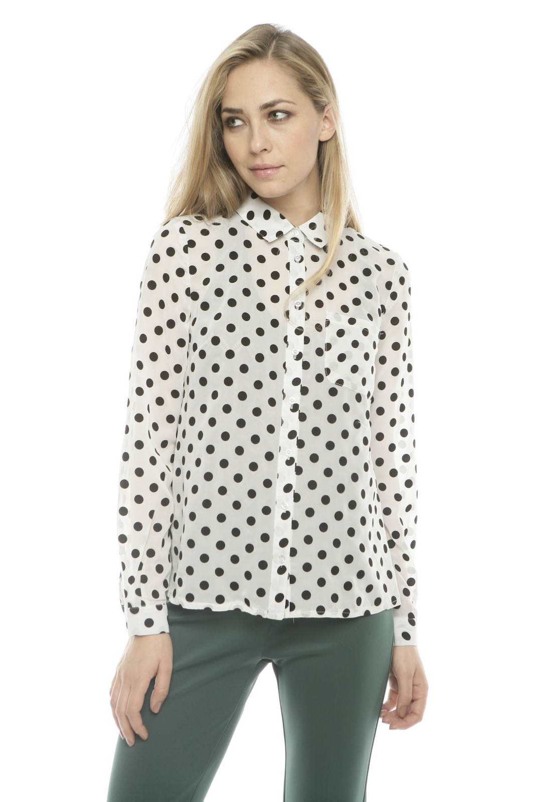 Lovely Girl Polka Dot Blouse - Front Cropped Image