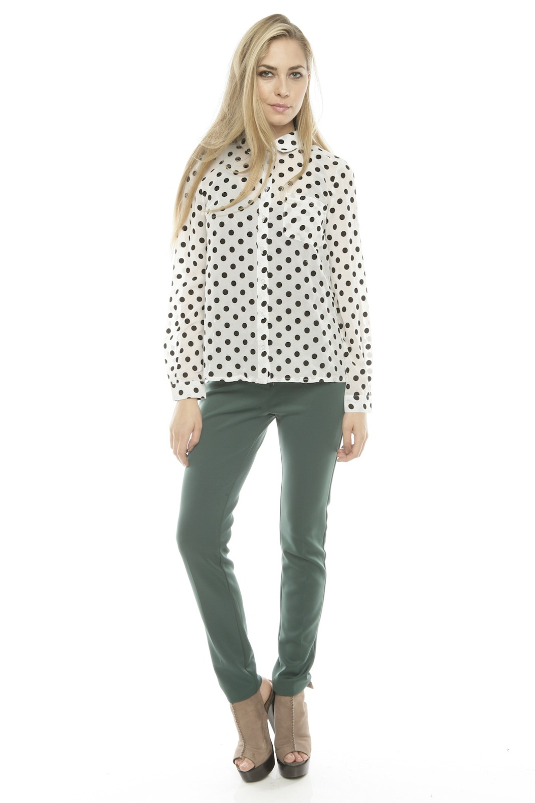 Lovely Girl Polka Dot Blouse - Front Full Image