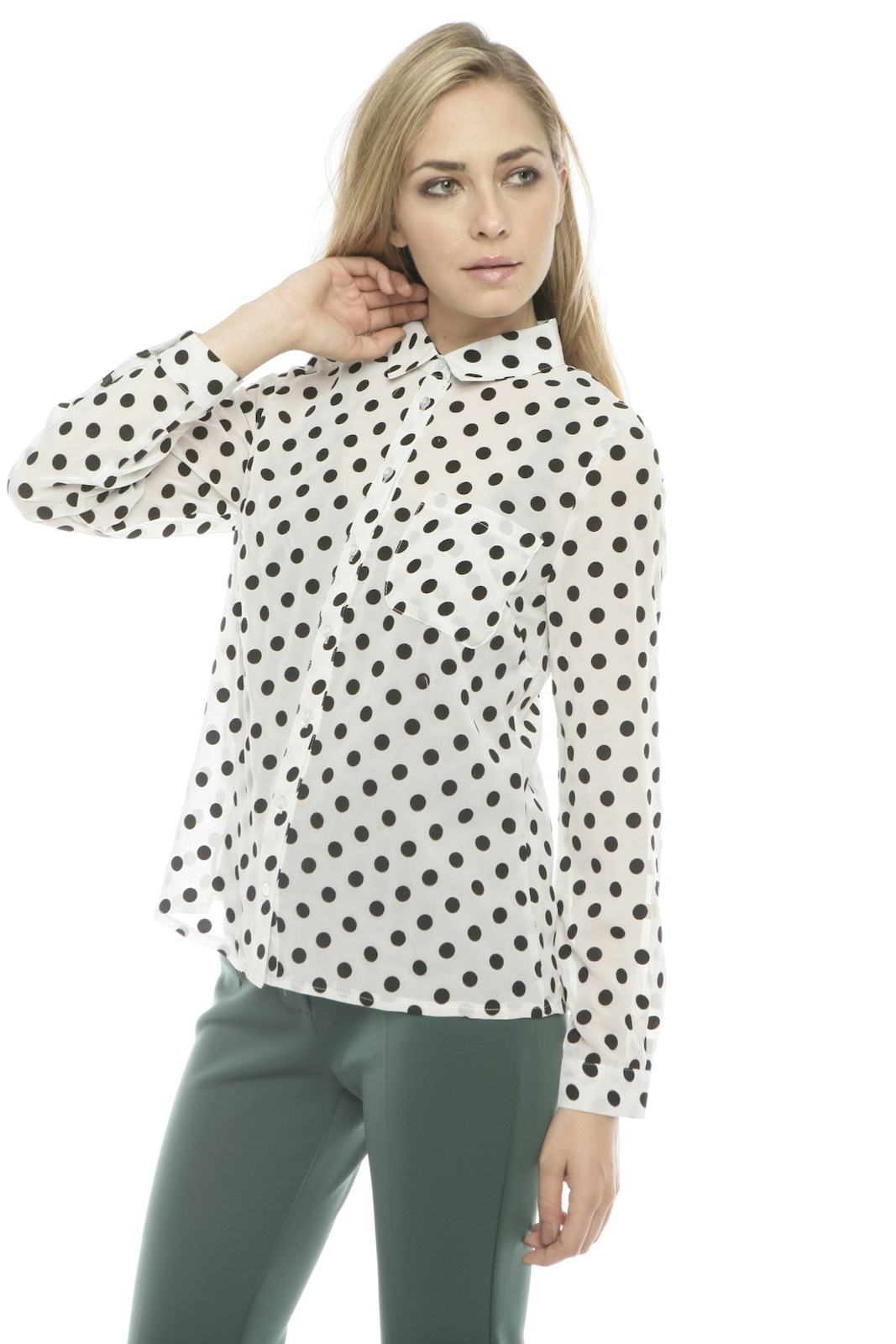 Lovely Girl Polka Dot Blouse - Side Cropped Image