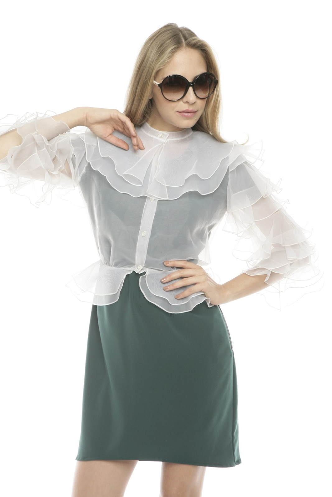 L.A. Boudoir Miami 1960's Ruffle Blouse - Front Cropped Image