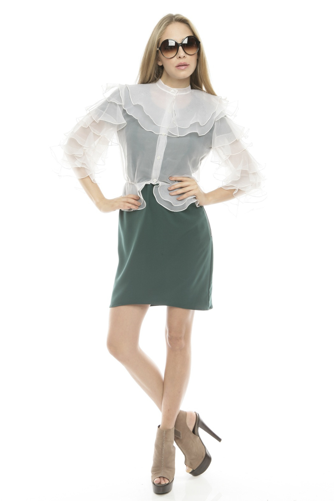 L.A. Boudoir Miami 1960's Ruffle Blouse - Front Full Image