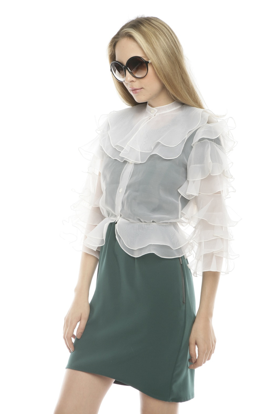 L.A. Boudoir Miami 1960's Ruffle Blouse - Side Cropped Image