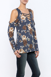143 Story Floral Cold Shoulder Top - Product Mini Image