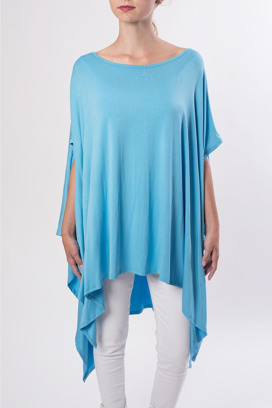 143 Story Blue Flowy Tee - Front Cropped Image