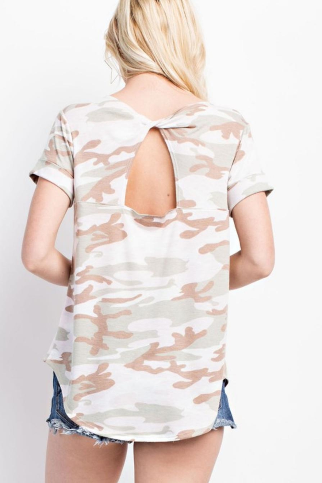 143 Story Camo Cut-Out-Back Tee - Front Full Image