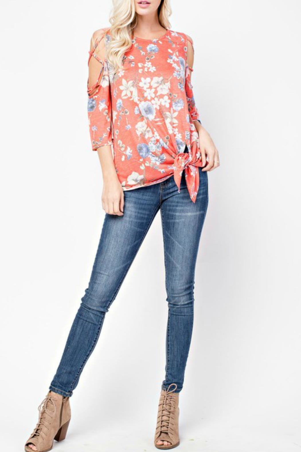 143 Story Cold-Shoulder Flowered Top - Front Full Image