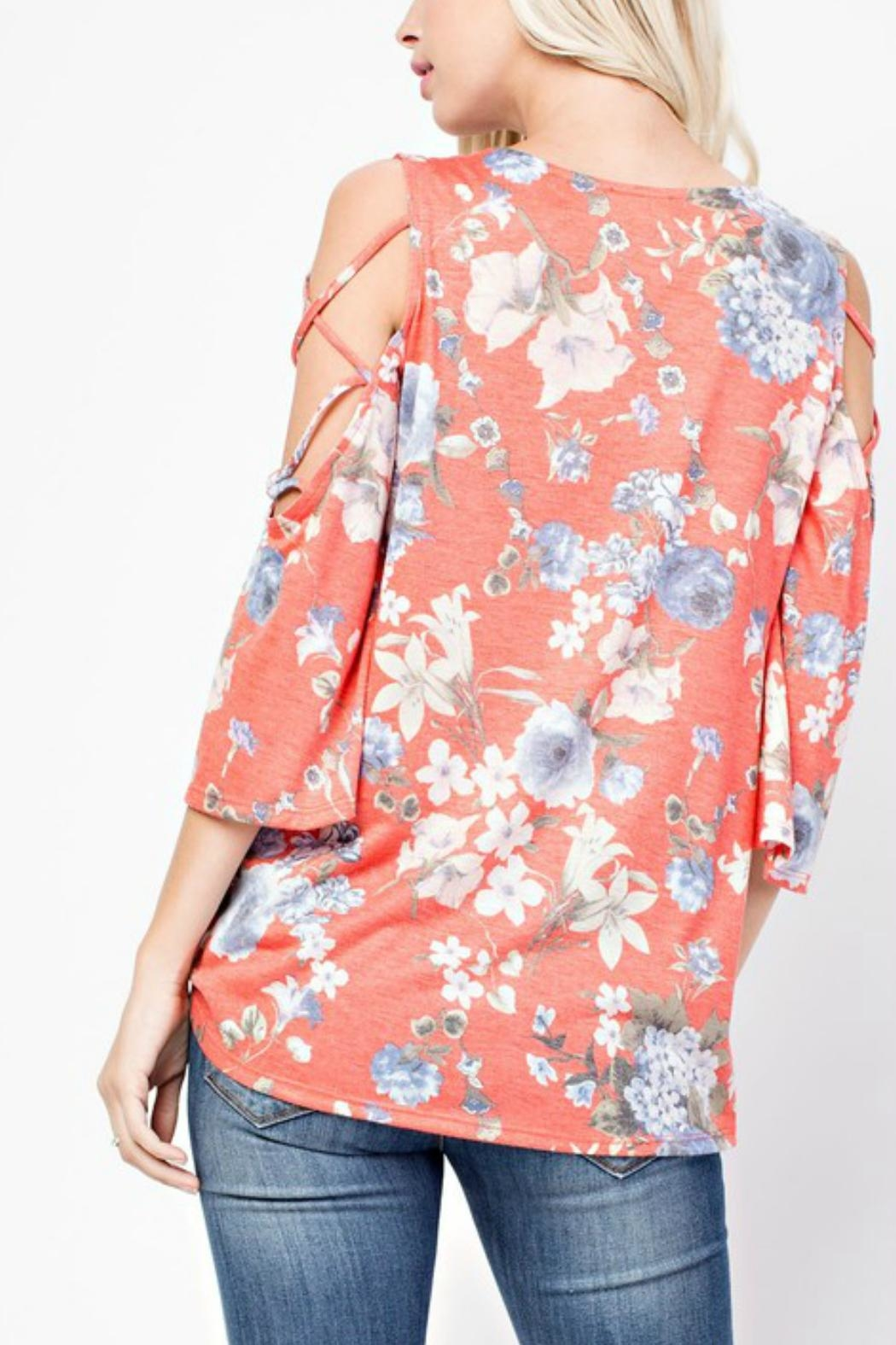 143 Story Cold-Shoulder Flowered Top - Side Cropped Image