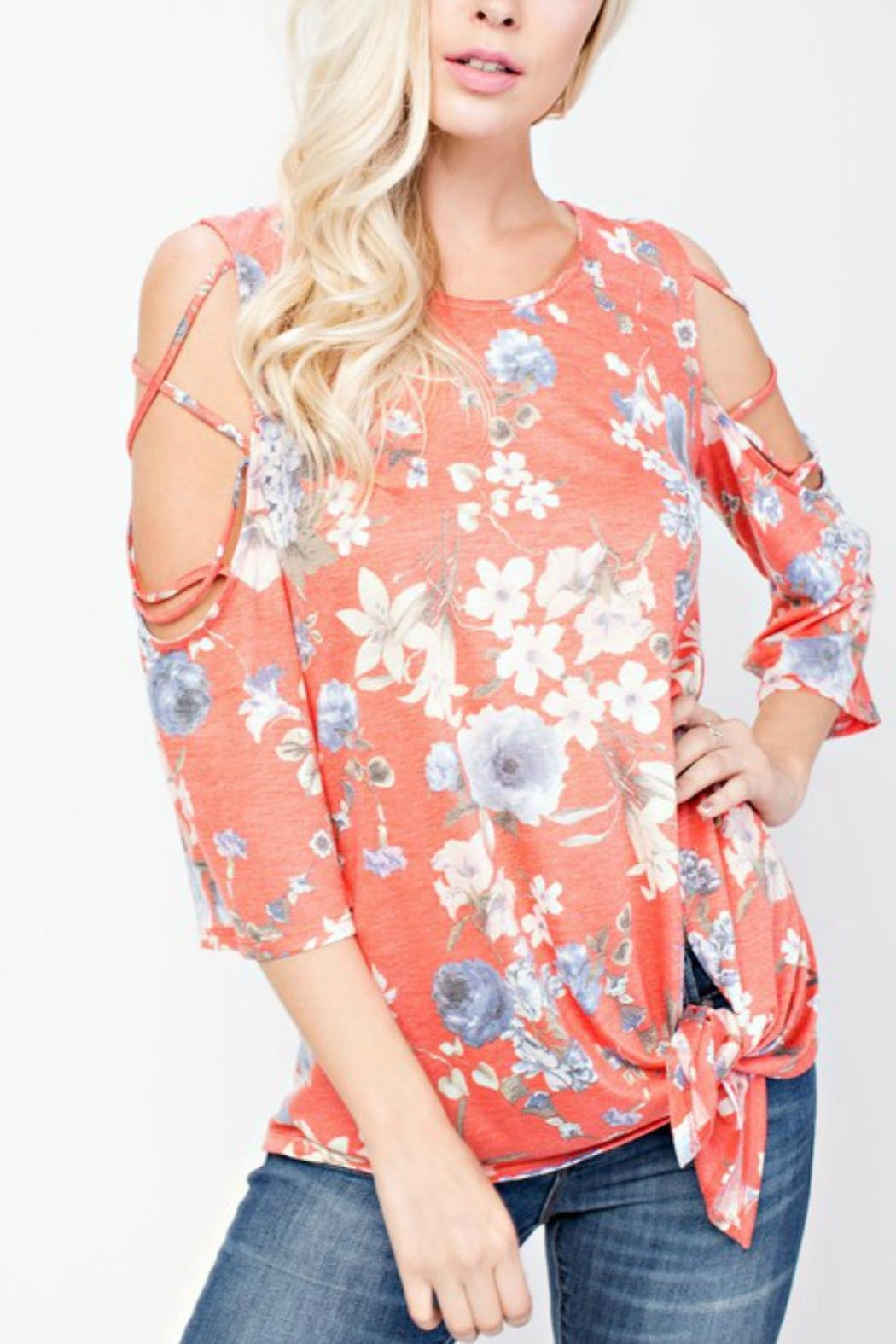 143 Story Cold-Shoulder Flowered Top - Front Cropped Image