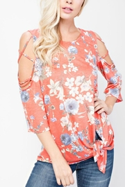 143 Story Cold-Shoulder Flowered Top - Front cropped