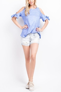 Shoptiques Product: Cold-Shoulder Tie-Sleeved Tee