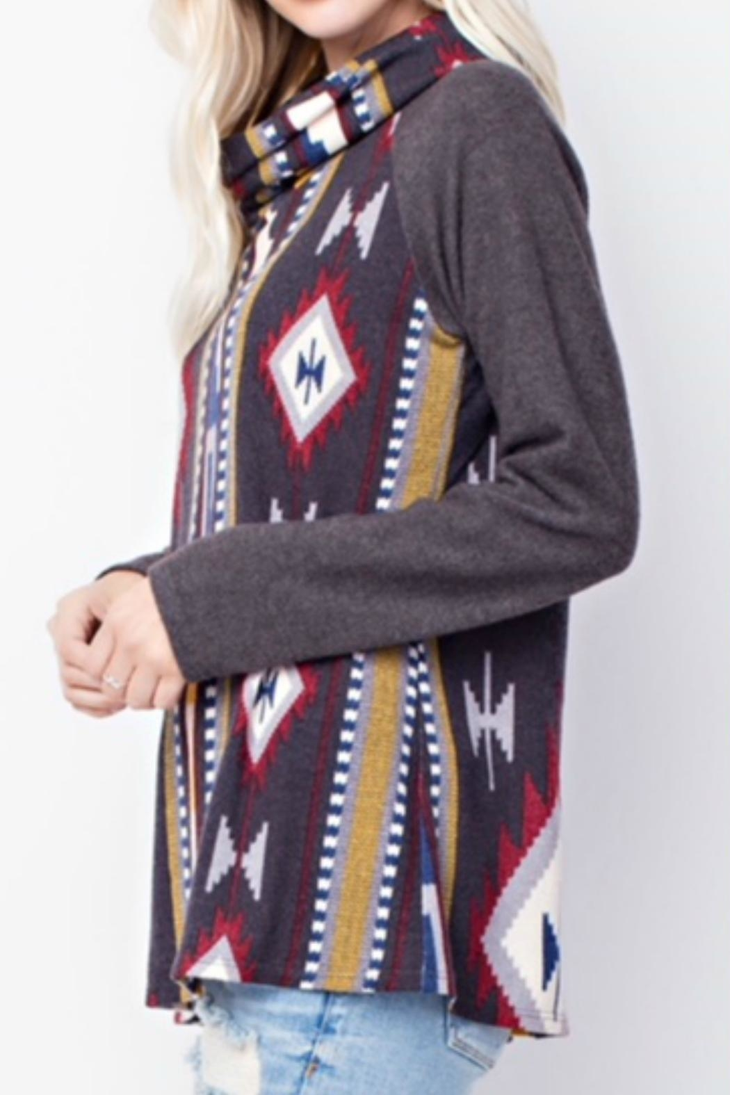 143 Story Cowl-Neck Aztec Top - Front Full Image