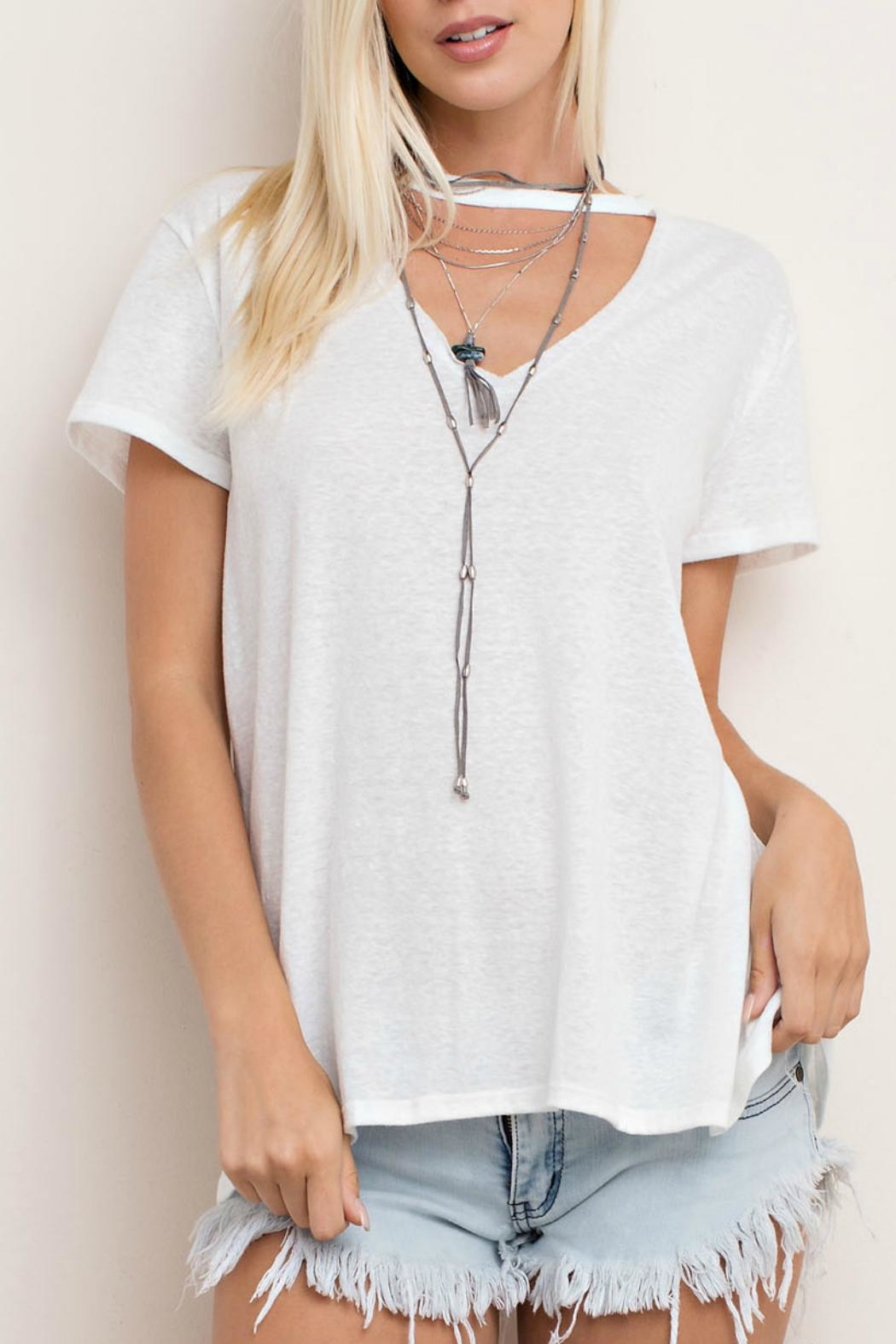 143 Story Cut Neck Tee Top - Front Full Image