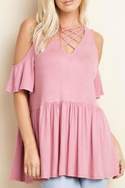 143 Story Jersey Cold Shoulder Top - Front cropped