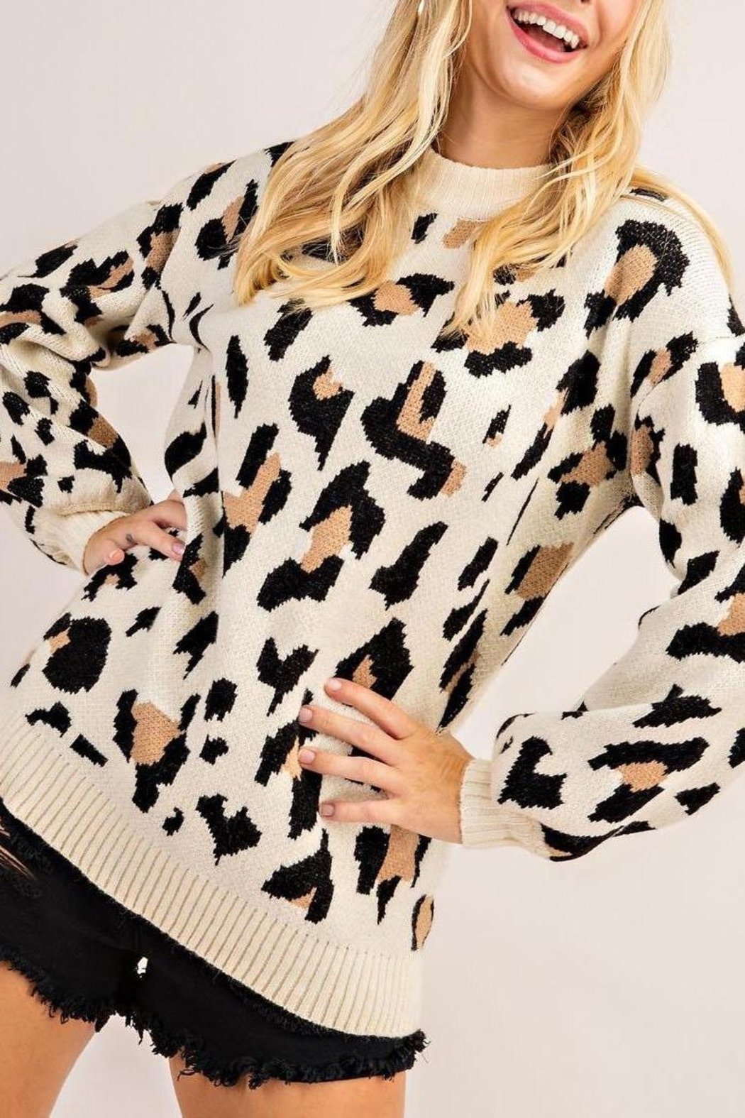 143 Story Leopard Print Pullover - Front Full Image