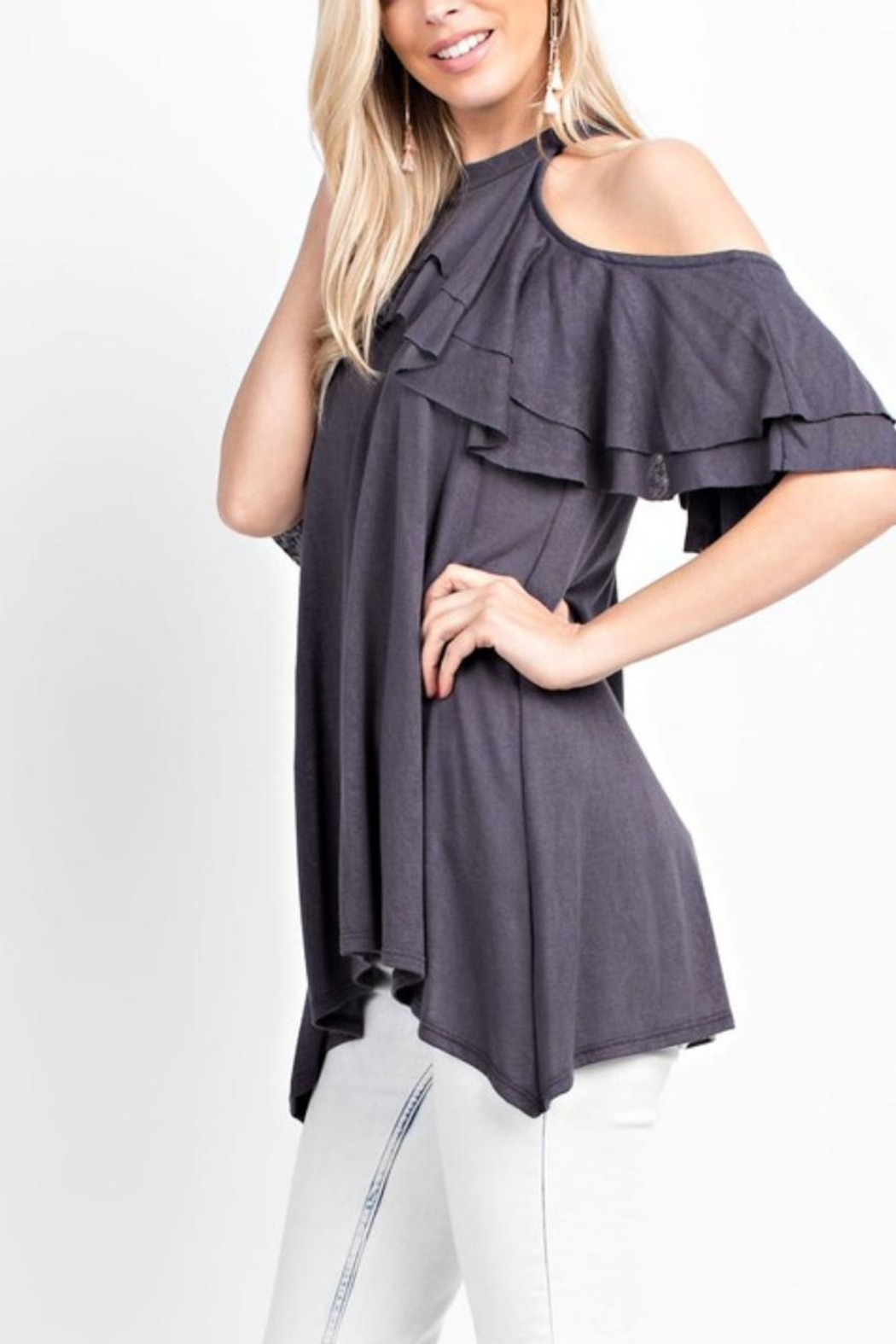 143 Story Ruffled Cold-Shoulder Top - Front Full Image