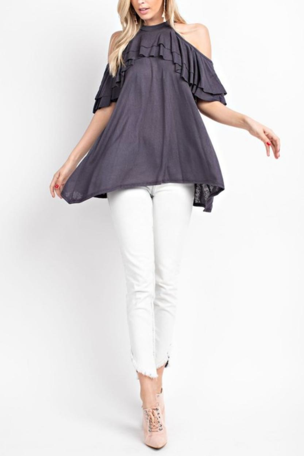 143 Story Ruffled Cold-Shoulder Top - Side Cropped Image