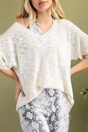 143 Story Slouchy Chic Knit V Neck Sweater Top (Available In 3 Colors: White, Navy, Peony) - Product Mini Image
