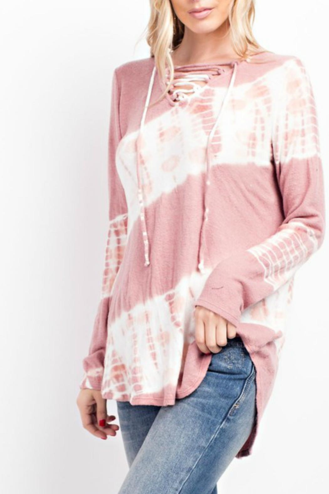 143 Story Tie-Dye Lace-Up Top - Front Full Image